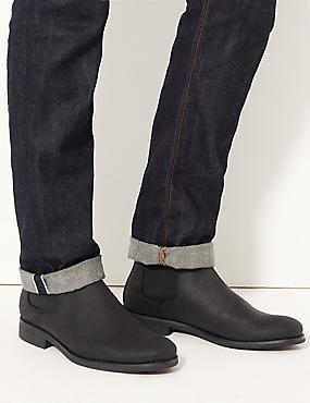 Leather Chelsea Boots, BLACK, catlanding