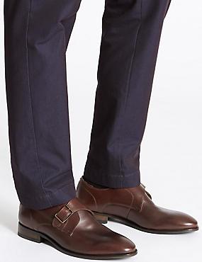 Leather Single Strap Monk Shoe, BROWN, catlanding