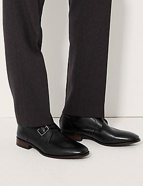 Leather Single Strap Monk Shoe, BLACK, catlanding