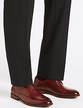 Leather Lace-up Derby Shoes, DARK BURGUNDY, catlanding