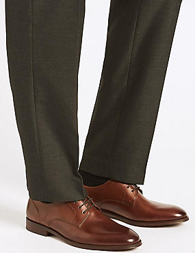 Leather Lace-up Derby Shoes, TAN, catlanding