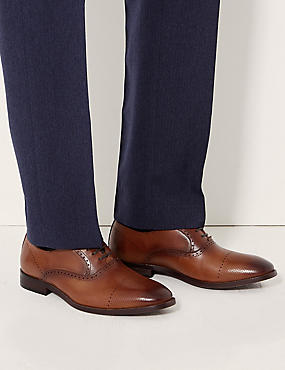 Leather Lace-up Oxford Shoes, TAN, catlanding