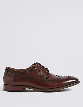 Leather Derby Brogue Shoes, BROWN, catlanding
