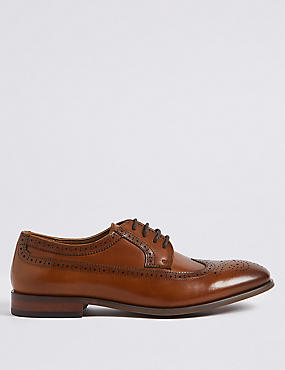 Leather Derby Brogue Shoes, TAN, catlanding