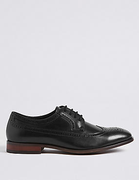Leather Derby Brogue Shoes, BLACK, catlanding