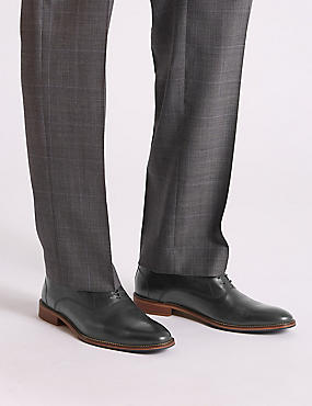 Leather Layered Derby Shoes, BLACK, catlanding
