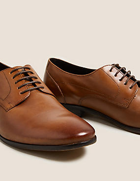 Leather Almond Toe Lace-up Derby Shoes, CHESTNUT, catlanding