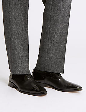Leather Lace-up Derby Shoes , BLACK HIGH SHINE, catlanding