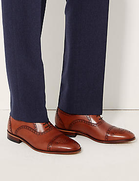 Leather Lace-up Brogue Shoes, BROWN, catlanding
