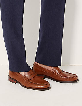 Leather Penny Slip-on Loafers, BROWN, catlanding