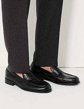 Leather Penny Slip-on Loafers, BLACK, catlanding