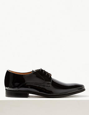 Leather Lace-up Shoes, BLACK HIGH SHINE, catlanding