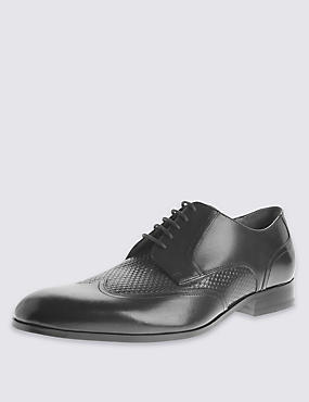 Leather Weave Mix Lace-up Shoes