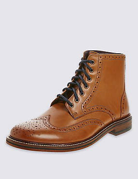 Leather Lace-Up Brogue Boots