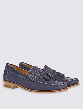 Leather Nubuck Tassel Slip-on Loafers