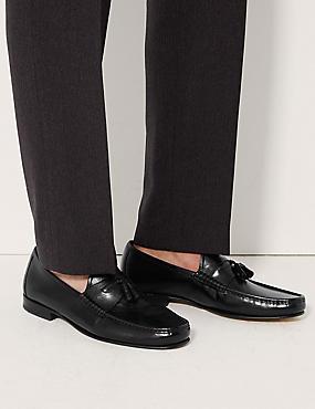 Leather Slip-on Tassel Loafers, BLACK, catlanding