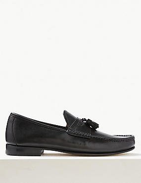 Leather Slip-on Tassel Loafers