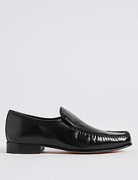 Leather Slip-on Weave Print Loafers