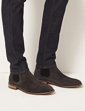 Suede Chelsea Boots, GREY, catlanding