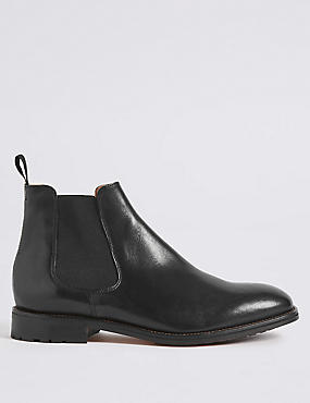 Leather Elastic Chelsea Boots