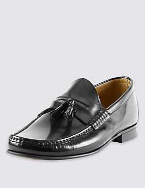 Leather Penny Tassel Slip-On Loafers