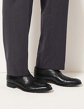 Leather Brogue Shoes, BLACK, catlanding