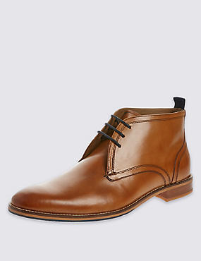 Leather Lace-up Layered Chukka Boots