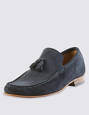 Suede Tassel Slip-On Loafers with Stain Resistance