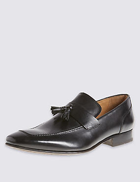 Leather Pointed Tassel Loafers