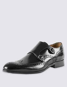Leather Brogue Monk Shoes