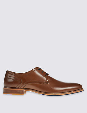 Leather Layered Sole Lace-up Derby Shoes