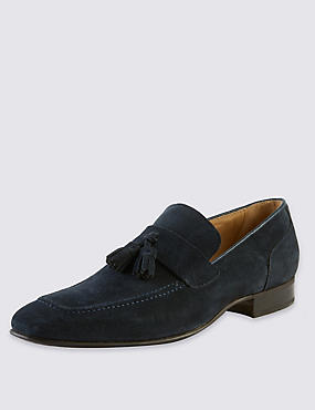Suede Tassel Loafers with Stain Resistance