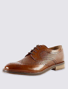Leather Contrast Sole Derby Brogue Shoes