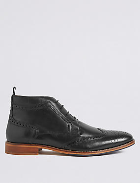 Leather Lace-up Brogue Chukka Boots