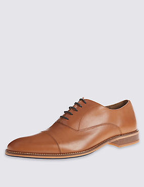 Leather Layered Sole Toe Cap Shoes