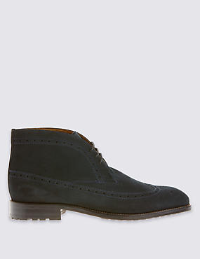 Suede Lace-up Brogue Chukka Boots