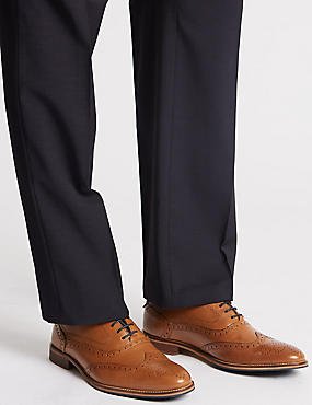 Extra Wide Fit Leather Lace-up Brogue Shoes, TAN, catlanding