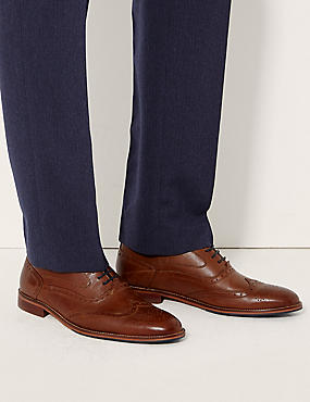 Leather Layered Sole Brogue Shoes, MEDIUM BROWN, catlanding