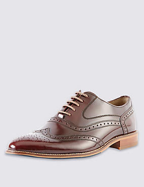 Leather Layered Sole Brogue Shoes