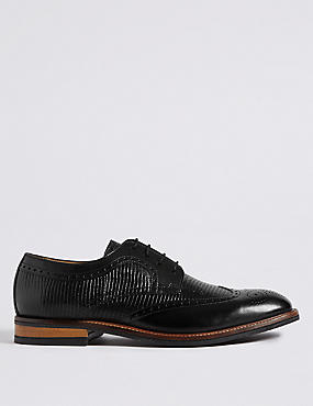 Leather Lace-up Contrast Sole Brogue Shoes