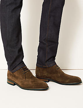 Leather Lace-up Chukka Boots, OLIVE, catlanding