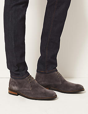 Leather Lace-up Chukka Boots, GREY, catlanding
