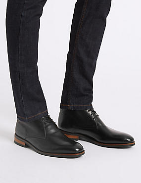 Extra Wide Leather Lace-up Chukka Boots, BLACK, catlanding