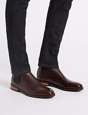 Leather Chelsea Boots, RICH BROWN, catlanding