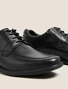 Extra Wide Fit Leather Lace-up Derby Shoes, BLACK, catlanding