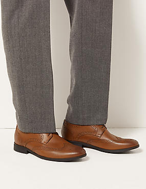 Leather Brogue Shoes with Airflex™, TAN, catlanding