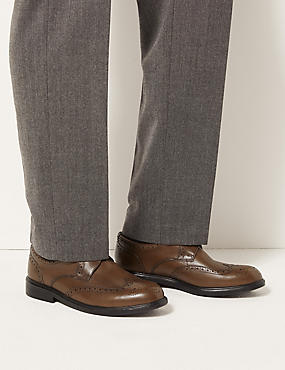 Extra Wide Leather Brogue Shoes with Airflex™, TAN, catlanding