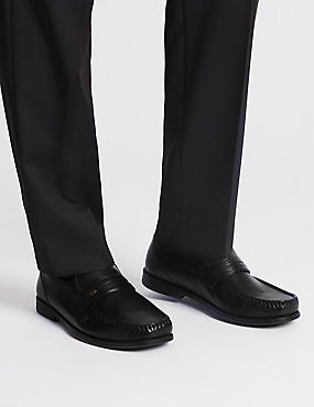 Extra Wide Leather Loafers with Airflex™, BLACK, catlanding