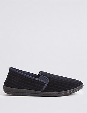 Velour Striped Slippers
