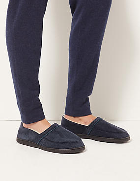 Big & Tall Slip-on Slippers with Thinsulate™ , NAVY, catlanding